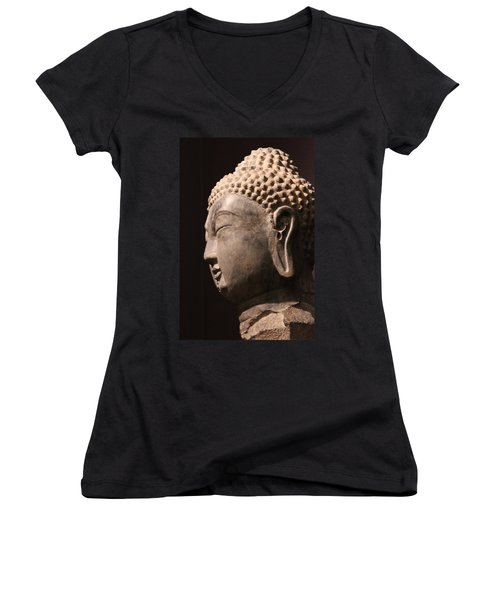 Women's V-Neck T-Shirt (Junior Cut) featuring the photograph The Buddha 2 by Lynn Sprowl
