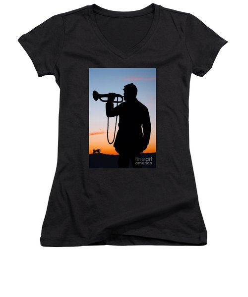 The Bugler Women's V-Neck T-Shirt