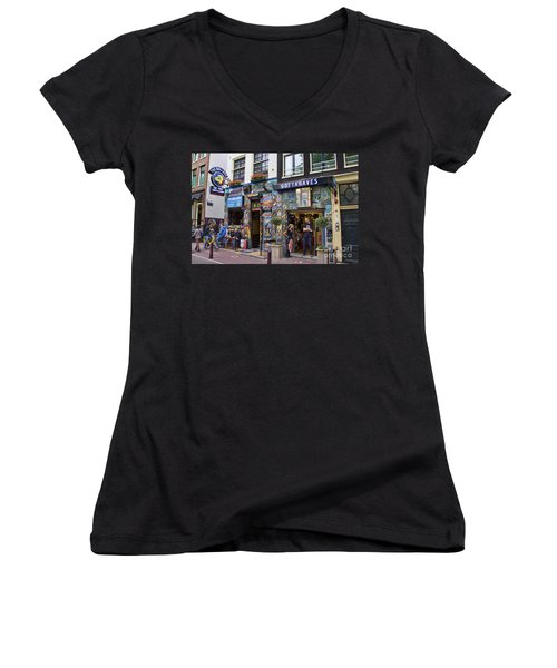 The Bulldog Coffee Shop - Amsterdam Women's V-Neck (Athletic Fit)