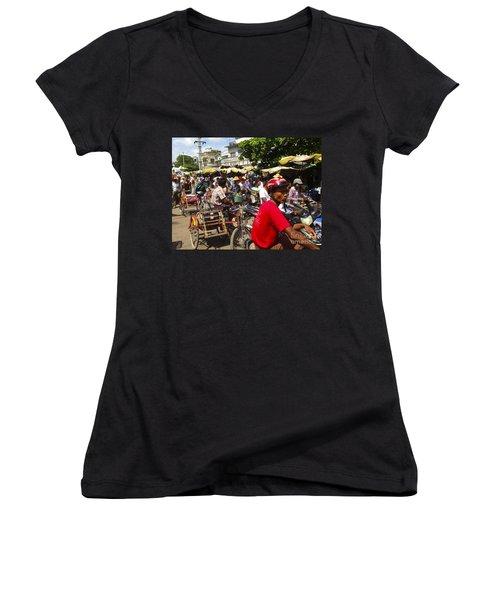 Women's V-Neck T-Shirt (Junior Cut) featuring the photograph The Bustling Traffic On 27th Street Zay Cho Street Market Mandalay Burma by Ralph A  Ledergerber-Photography