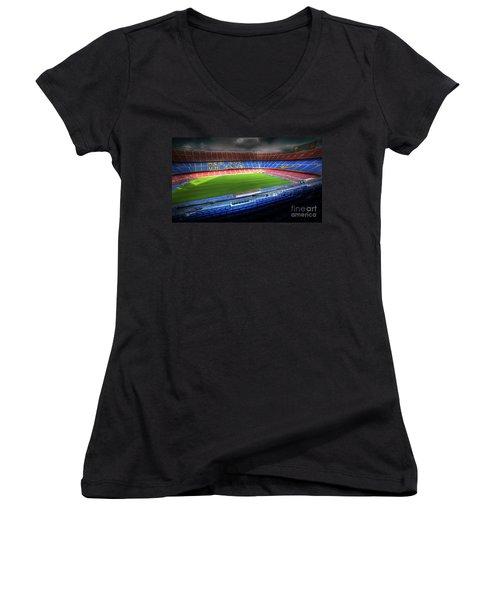 The Camp Nou Stadium In Barcelona Women's V-Neck T-Shirt