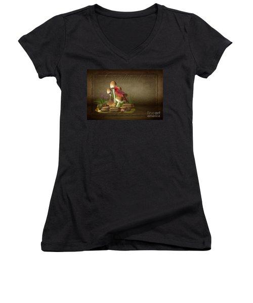 The Cardinal Women's V-Neck T-Shirt (Junior Cut) by Davandra Cribbie