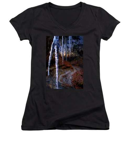 The Cave Of The Crystal Daggers Women's V-Neck (Athletic Fit)