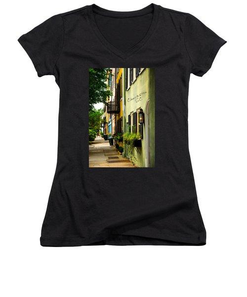 The Charm Of Charleston Women's V-Neck T-Shirt (Junior Cut) by Karol Livote