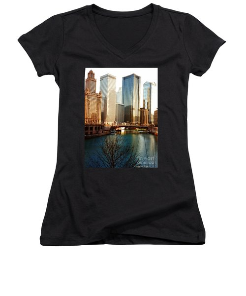 Women's V-Neck T-Shirt (Junior Cut) featuring the photograph The Chicago River From The Michigan Avenue Bridge by Mariana Costa Weldon