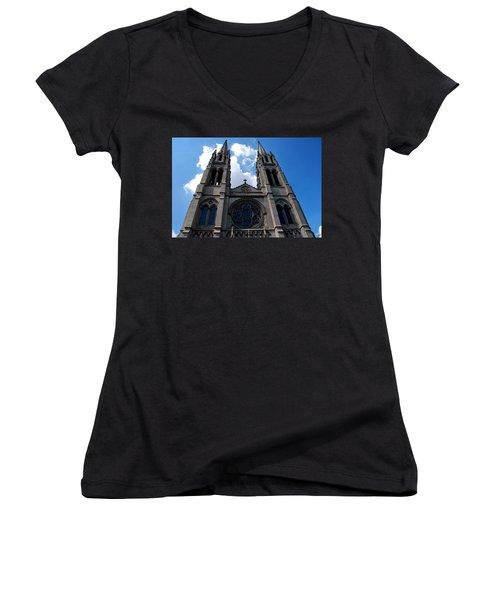 Women's V-Neck T-Shirt (Junior Cut) featuring the photograph The Church by Matt Harang