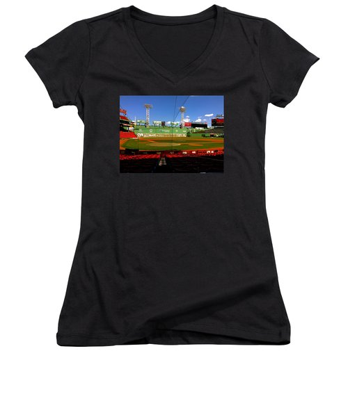 The Classic  Fenway Park Women's V-Neck T-Shirt (Junior Cut) by Iconic Images Art Gallery David Pucciarelli