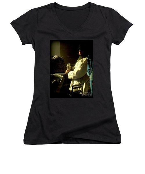 The Coffee Drinker Women's V-Neck T-Shirt (Junior Cut) by Miriam Danar