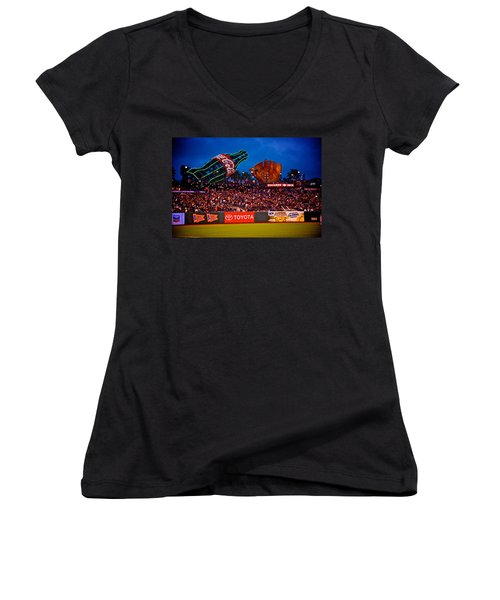 The Coke And Glove Women's V-Neck T-Shirt (Junior Cut) by Eric Tressler