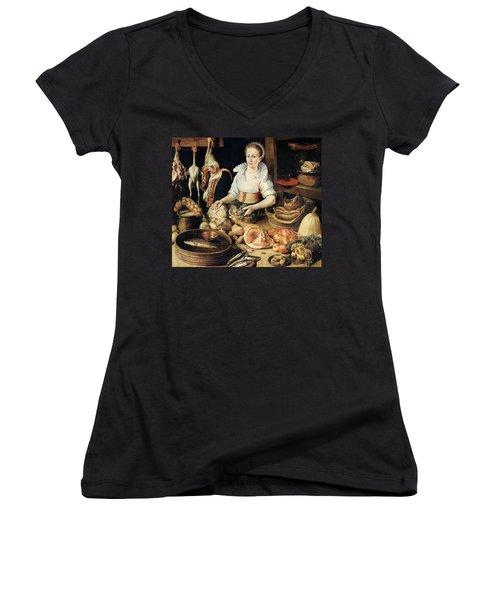 The Cook Women's V-Neck T-Shirt (Junior Cut) by Pieter Cornelisz van Rijck