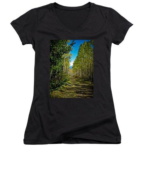 Women's V-Neck T-Shirt (Junior Cut) featuring the painting The Cool Path Through Arizona Aspens by John Haldane