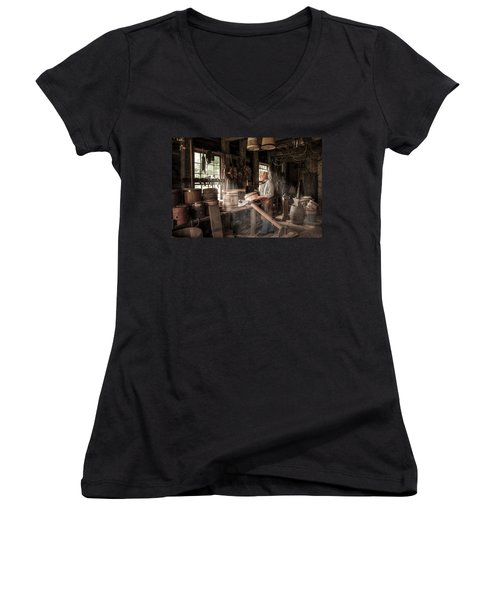 Women's V-Neck T-Shirt (Junior Cut) featuring the photograph The Cooper - 19th Century Artisan In His Workshop  by Gary Heller