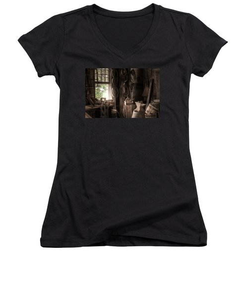 Women's V-Neck T-Shirt (Junior Cut) featuring the photograph The Coopers Window - A Glimpse Into The Artisans Workshop by Gary Heller
