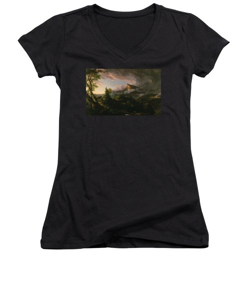 The Course Of Empire The Savage State  Women's V-Neck