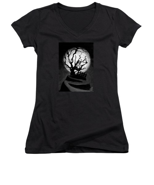 Women's V-Neck T-Shirt (Junior Cut) featuring the painting The Crooked Tree by Salman Ravish
