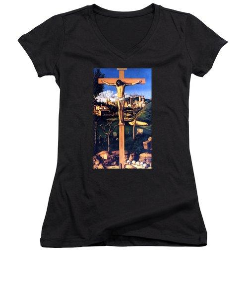 The Crucifixion 1503 Giovanni Bellini Women's V-Neck T-Shirt (Junior Cut) by Karon Melillo DeVega