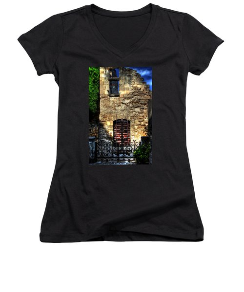 Women's V-Neck T-Shirt (Junior Cut) featuring the photograph The Cypress And The Bell France by Tom Prendergast