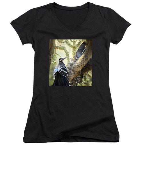 The Dove Vs. The Roadrunner Women's V-Neck T-Shirt