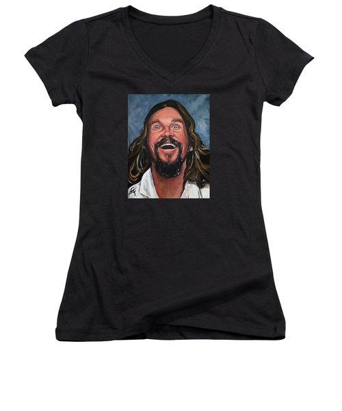 The Dude Women's V-Neck T-Shirt (Junior Cut) by Tom Carlton