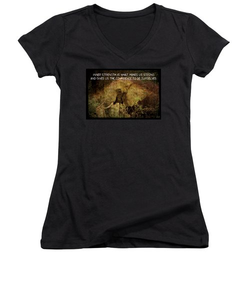 The Elephant - Inner Strength Women's V-Neck T-Shirt (Junior Cut) by Absinthe Art By Michelle LeAnn Scott