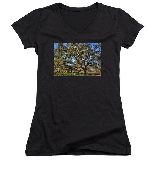 The Emancipation Oak Tree At Hu Women's V-Neck