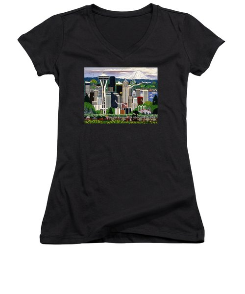 Women's V-Neck T-Shirt (Junior Cut) featuring the painting The Emerald City Seattle by Jennifer Lake