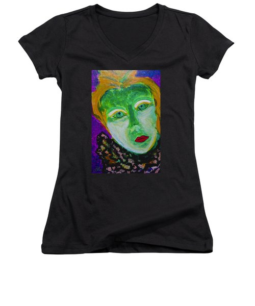 Women's V-Neck T-Shirt featuring the painting The Emerald Lady by Joan Reese