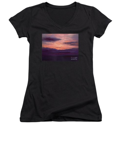 The End Of A Perfect Day Women's V-Neck T-Shirt (Junior Cut) by Valerie Travers