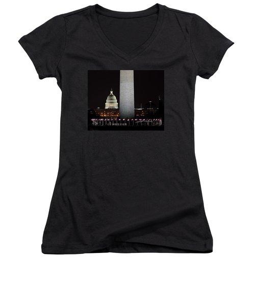 The Essence Of Washington At Night Women's V-Neck T-Shirt