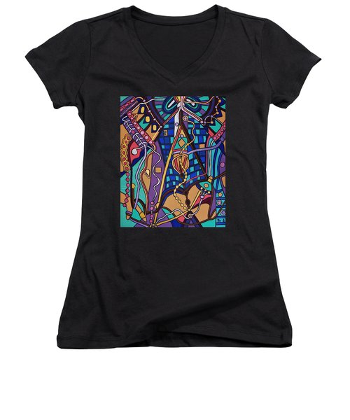 Women's V-Neck T-Shirt (Junior Cut) featuring the painting The Exam by Barbara St Jean