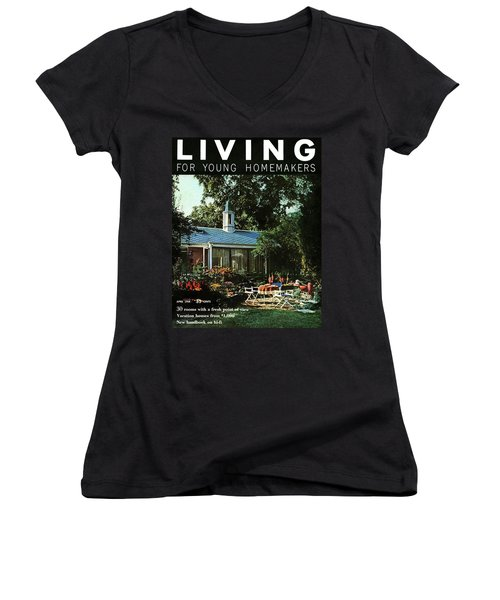 The Exterior Of A House And Patio Furniture Women's V-Neck