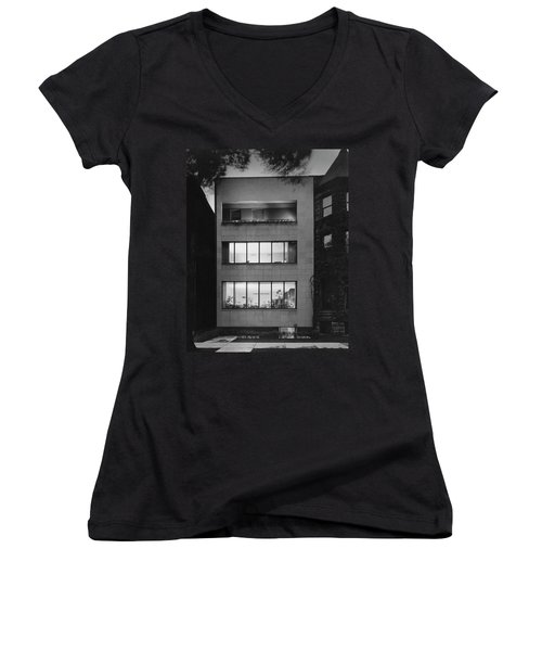 The Exterior Of A Modern Townhouse Women's V-Neck