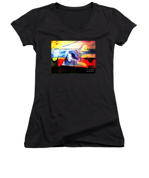 Women's V-Neck T-Shirt (Junior Cut) featuring the painting The Fabric Of My Heart by Hazel Holland