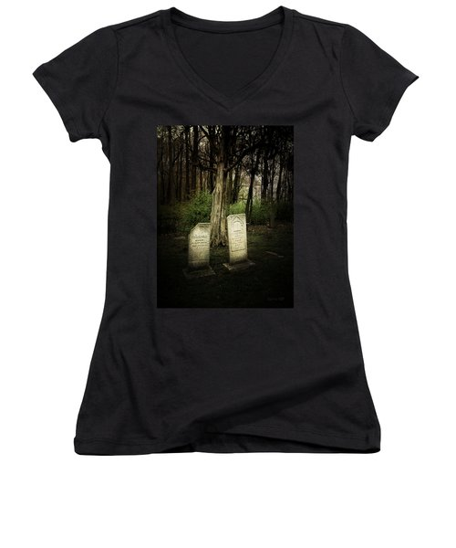 The Final Resting Place Of Ambros And Brazilla Ivins Women's V-Neck (Athletic Fit)
