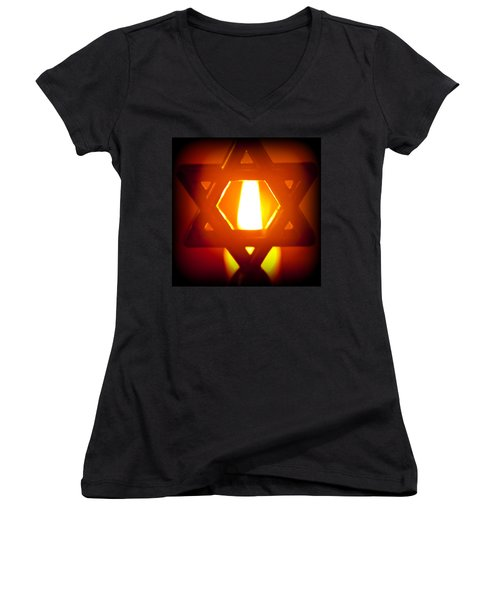 The Fire Within Women's V-Neck T-Shirt (Junior Cut) by Tikvah's Hope