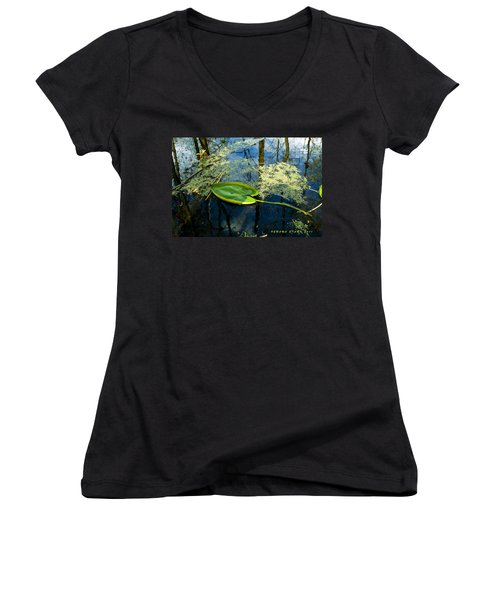 Women's V-Neck T-Shirt (Junior Cut) featuring the photograph The Floating Leaf Of A Water Lily by Verana Stark