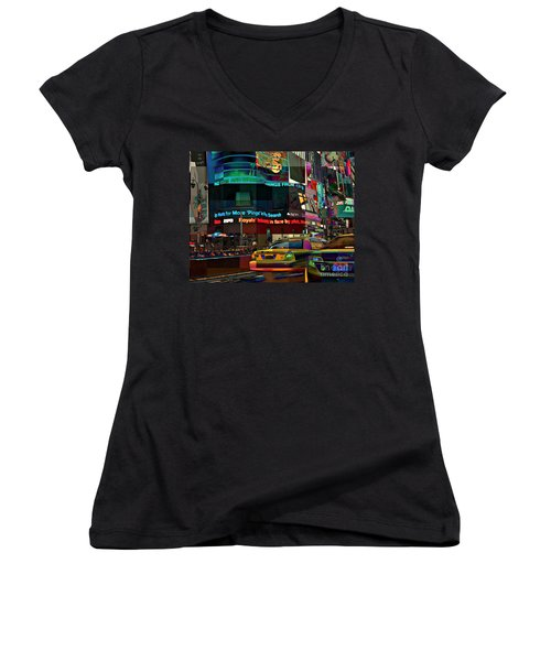 The Fluidity Of Light - Times Square Women's V-Neck T-Shirt (Junior Cut) by Miriam Danar