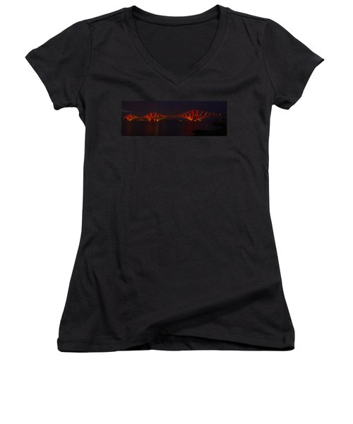 The Forth Bridge By Night Women's V-Neck T-Shirt