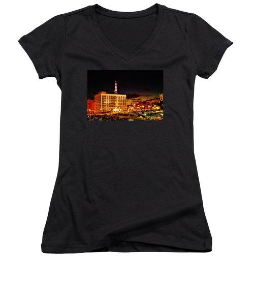 The Fox At Sunset Women's V-Neck T-Shirt (Junior Cut) by Daniel Thompson