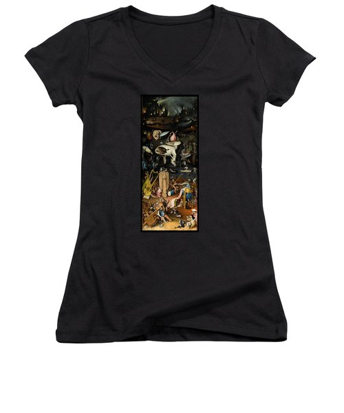The Garden Of Earthly Delights. Right Panel Women's V-Neck T-Shirt (Junior Cut) by Hieronymus Bosch