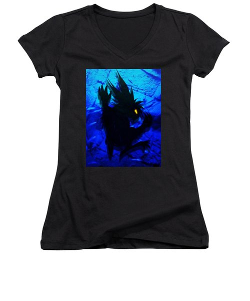 Women's V-Neck T-Shirt (Junior Cut) featuring the mixed media The Gargunny by Shawn Dall