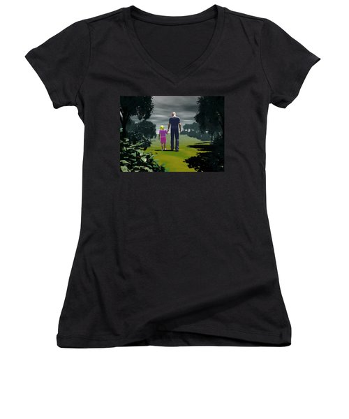 Women's V-Neck T-Shirt (Junior Cut) featuring the digital art The Gift Of Being 'daddy' by John Alexander