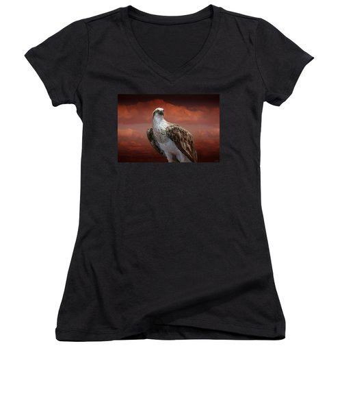 Women's V-Neck T-Shirt (Junior Cut) featuring the photograph The Glory Of An Eagle by Holly Kempe
