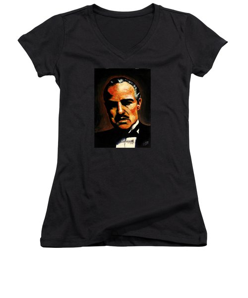 Women's V-Neck T-Shirt (Junior Cut) featuring the painting Godfather by Salman Ravish