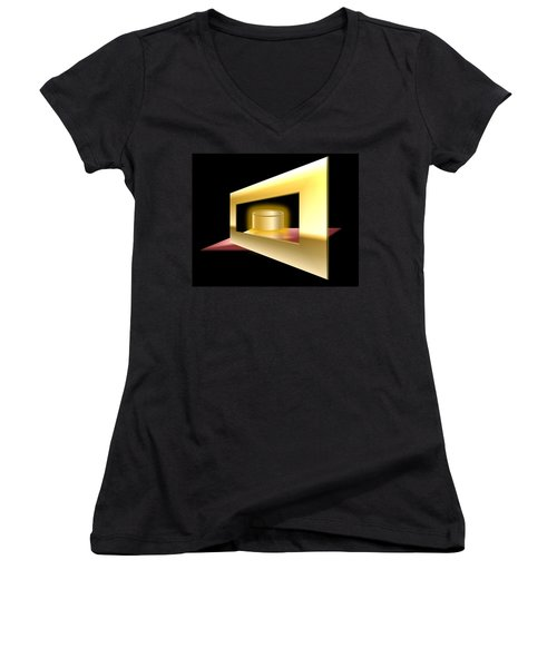 Women's V-Neck T-Shirt (Junior Cut) featuring the digital art The Golden Can by Cyril Maza
