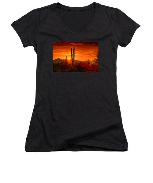 The Golden Southwest Skies  Women's V-Neck T-Shirt (Junior Cut) by Saija  Lehtonen