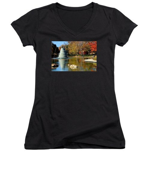 The Goodale Park  Fountain Women's V-Neck (Athletic Fit)