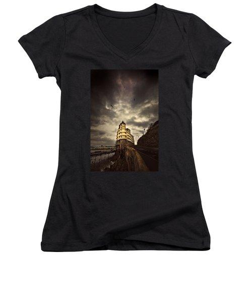 The Grand Women's V-Neck T-Shirt (Junior Cut) by Meirion Matthias