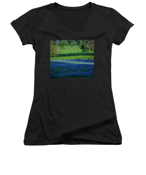 Women's V-Neck T-Shirt (Junior Cut) featuring the photograph The Pastures Of Central Texas by John Glass
