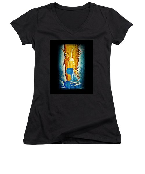 The Guardian Angel Women's V-Neck T-Shirt (Junior Cut) by Absinthe Art By Michelle LeAnn Scott